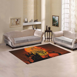 Haunted House Sunset Silhouette Area Rug 5'x3'3''