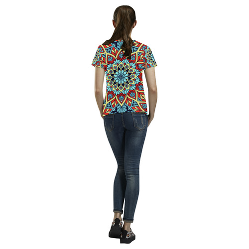 Red Yellow Blue Floral Mandala All Over Print T-Shirt for Women (USA Size) (Model T40)