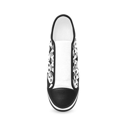 Silly Skull Halloween Design Women's Canvas Zipper Shoes (Model 001)