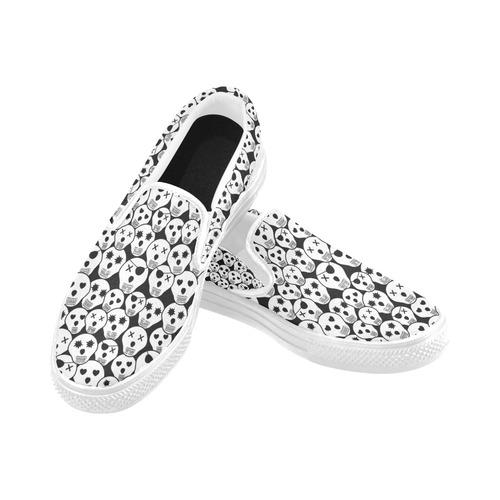 Silly Skull Halloween Design Women's Unusual Slip-on Canvas Shoes (Model 019)