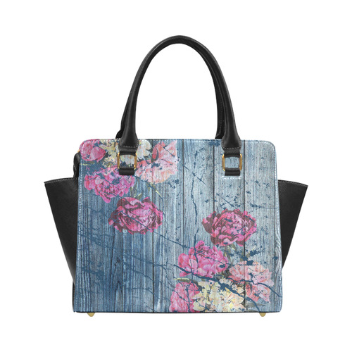 Shabby chic with painted peonies Classic Shoulder Handbag (Model 1653)