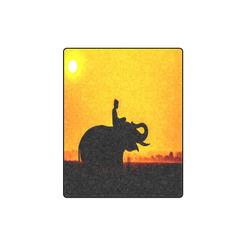 "Elephant Ride Sunset Silhouette Blanket 40""x50"""