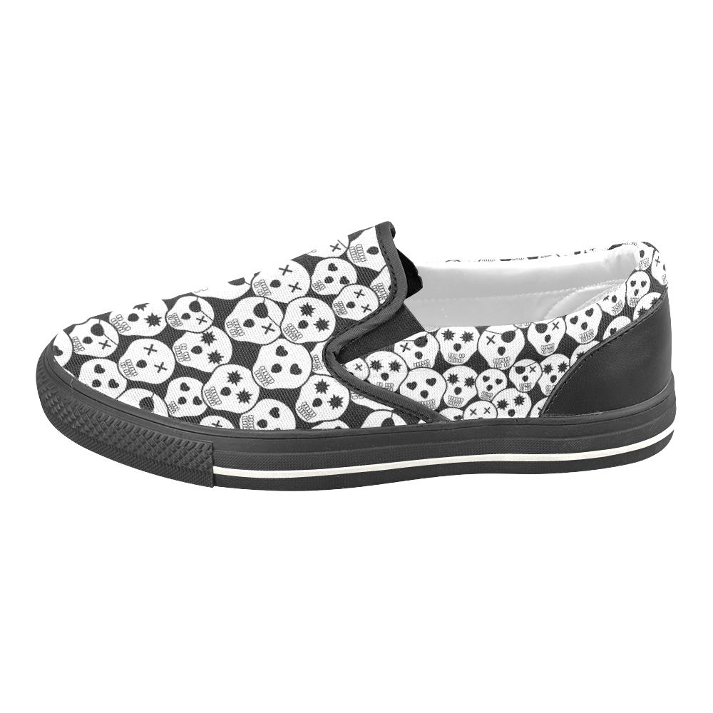 Silly Skull Halloween Design Slip-on Canvas Shoes for Kid (Model 019)