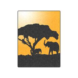 "African Elephants Sunset Silhouette Blanket 50""x60"""