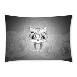 Cute owl, mandala design black and white Custom Rectangle Pillow Case 20x30 (One Side)