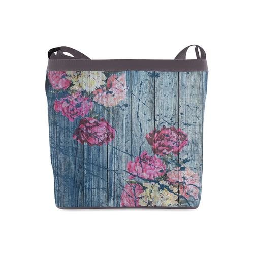 Shabby chic with painted peonies Crossbody Bags (Model 1613)