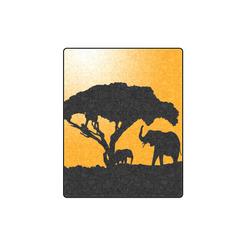 "African Elephants Sunset Silhouette Blanket 40""x50"""