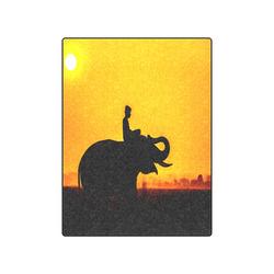 "Elephant Ride Sunset Silhouette Blanket 50""x60"""