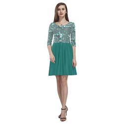 Ivy Vines on Stone Fractal Abstract Tethys Half-Sleeve Skater Dress(Model D20)