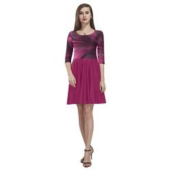 Fuchsia Pink Satin Shadows Fractal Abstract Tethys Half-Sleeve Skater Dress(Model D20)