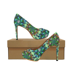 Fractal Fantastica in green Women's High Heels (Model 044)