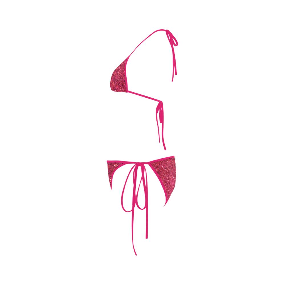 pink glitter Custom Bikini Swimsuit