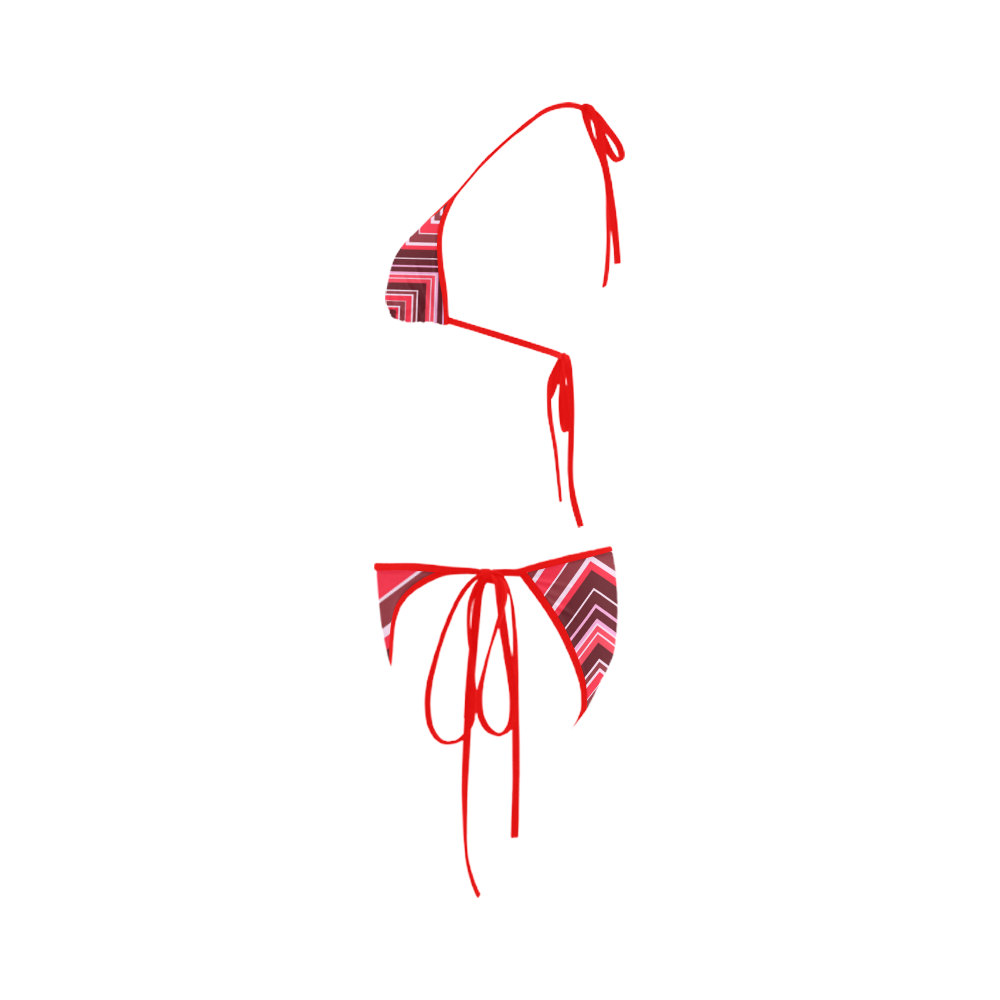 Red Chevron Pattern Bikini Custom Bikini Swimsuit
