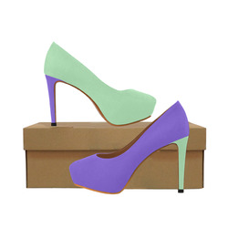 Only two Colors: Light Violet Mint Women's High Heels (Model 044)