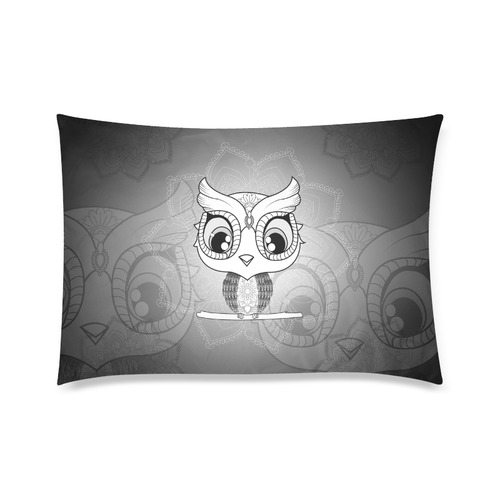 "Cute owl, mandala design black and white Custom Zippered Pillow Case 20""x30""(Twin Sides)"