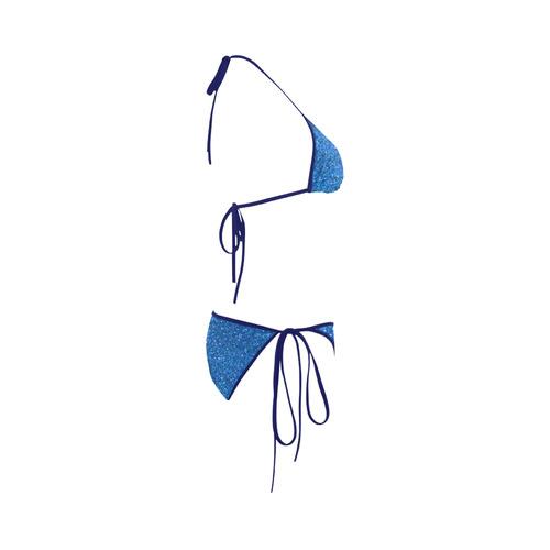 light blue glitter Custom Bikini Swimsuit