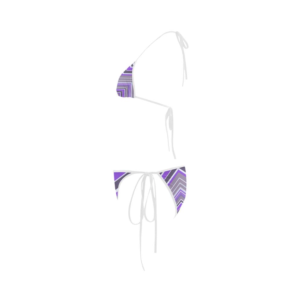 Purple Chevron Pattern Bikini Custom Bikini Swimsuit