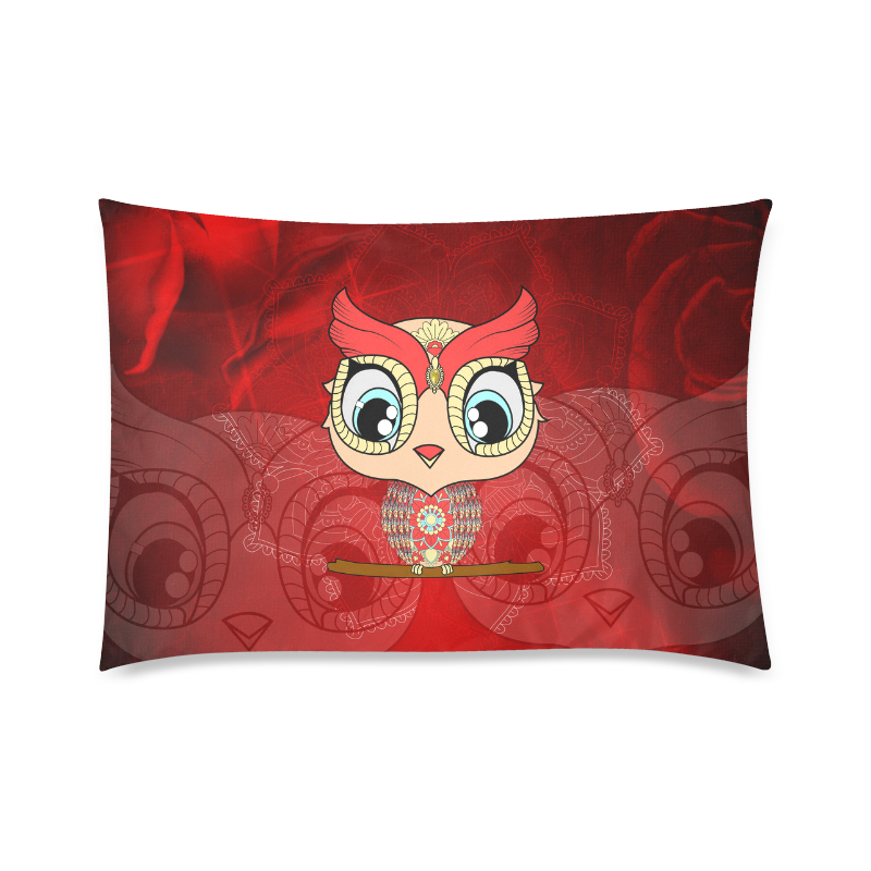 "Cute owl, mandala design colorful Custom Zippered Pillow Case 20""x30""(Twin Sides)"