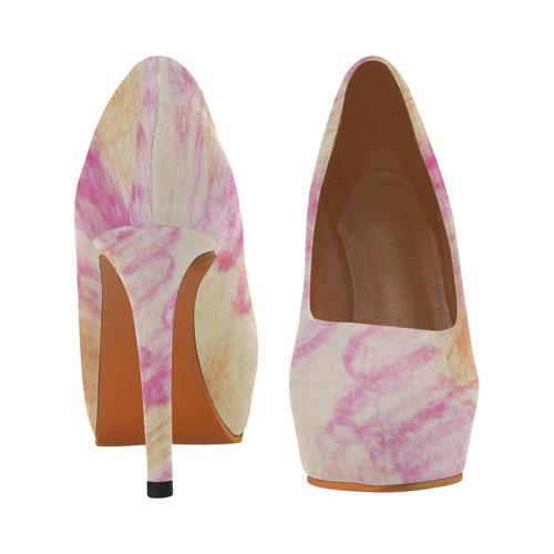 Pink Flowerets Women's High Heels (Model 044)