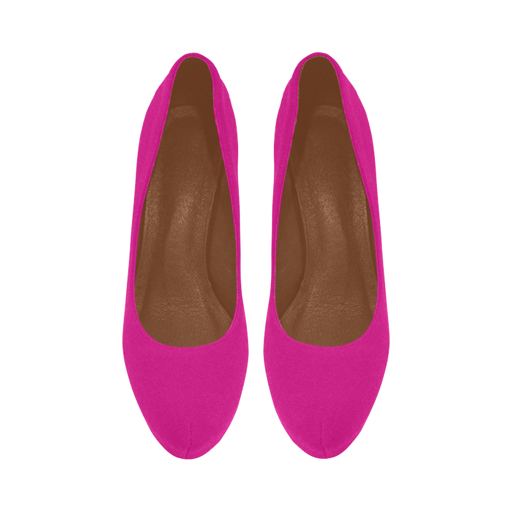 Hot Fuchsia Pink with Midnight Black Heels Women's High Heels (Model 044)