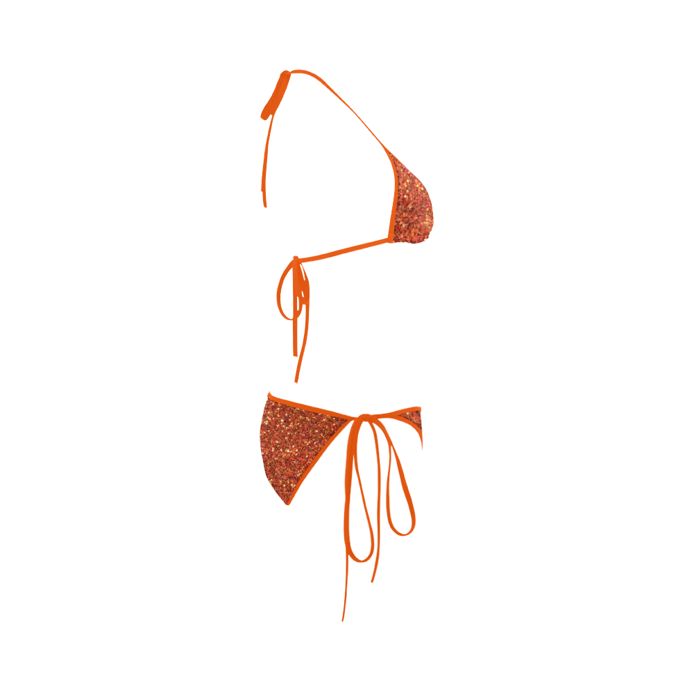 orange glitter Custom Bikini Swimsuit