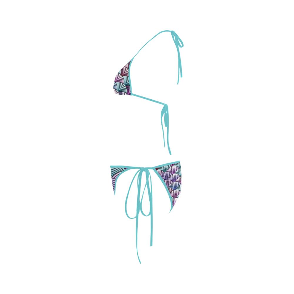 Oriental Concentric Circles Pattern Custom Bikini Swimsuit