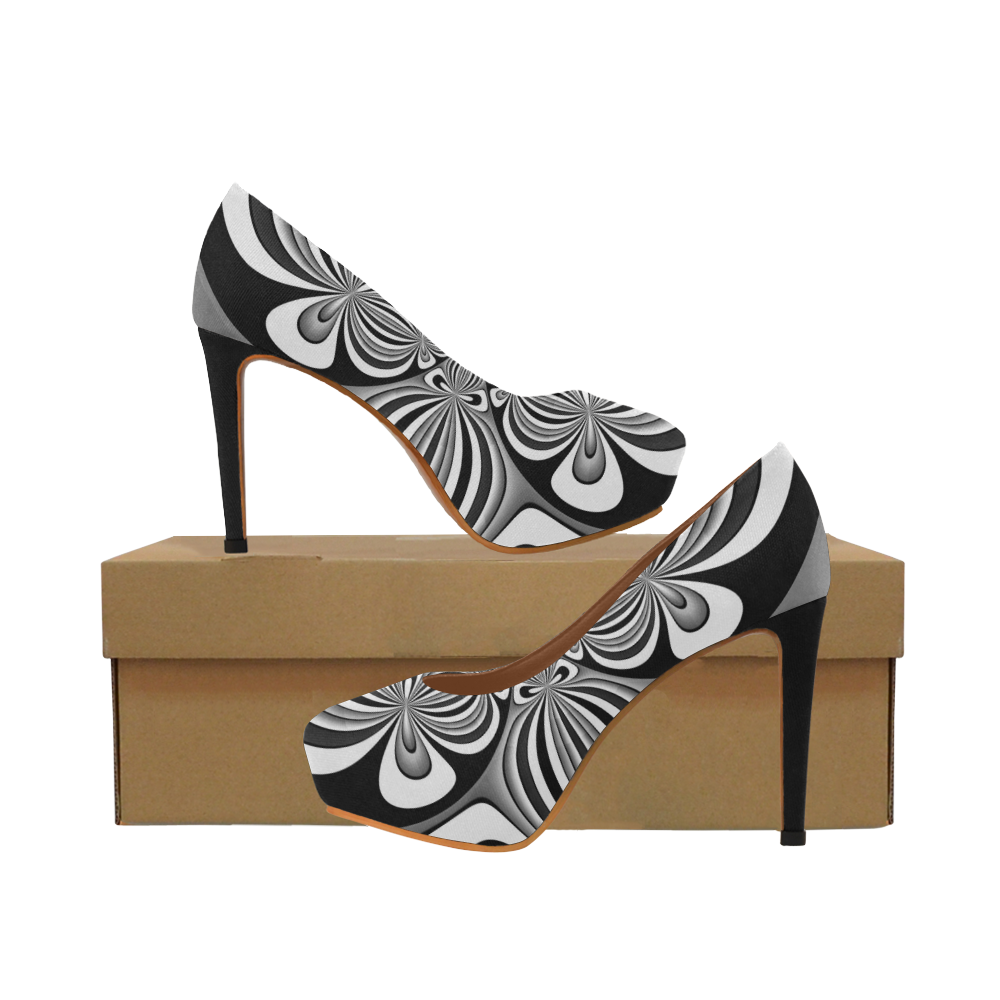 Shades of Grey Flower Ornament Women's High Heels (Model 044)