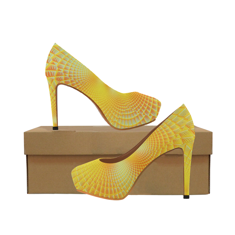 Gold Blue Grid Abstract Blossom Women's High Heels (Model 044)