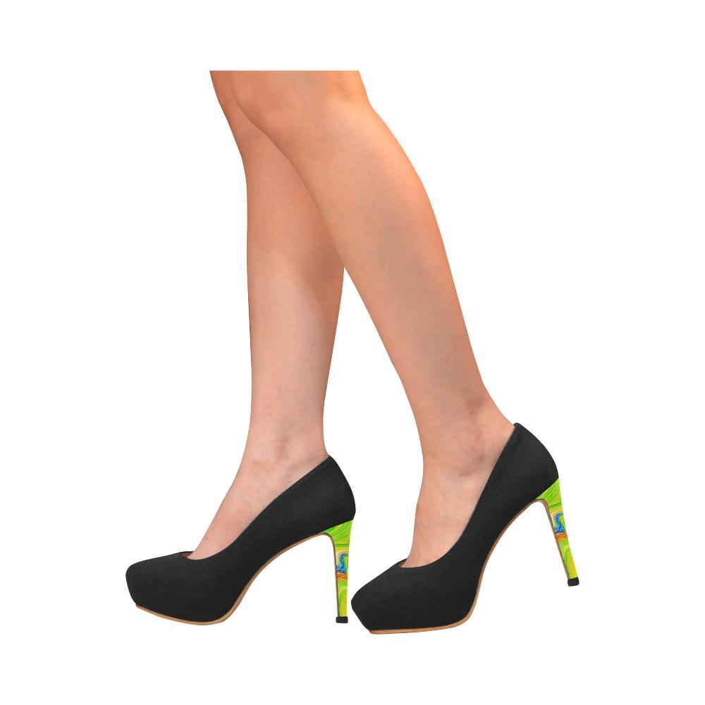 Multicolor Abtract Figure Black Women's High Heels (Model 044)