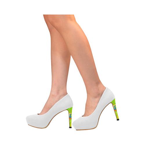 Multicolor Abtract Figure White Women's High Heels (Model 044)