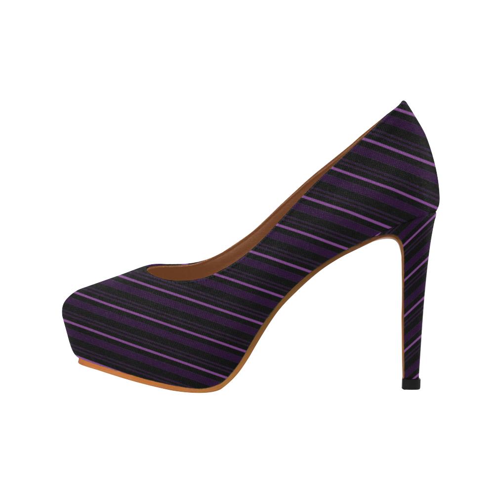 Stripes Black Women's High Heels (Model 044)