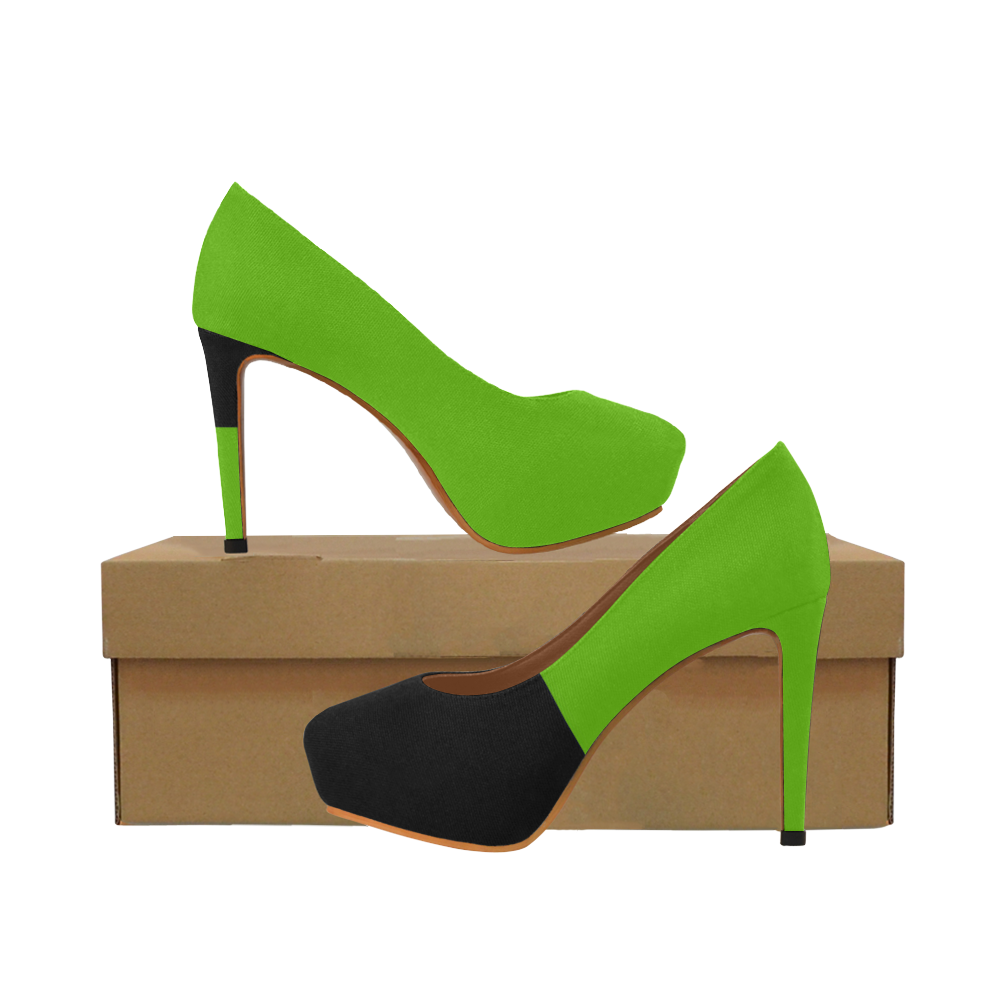 Lime Green and Black Women's High Heels (Model 044)