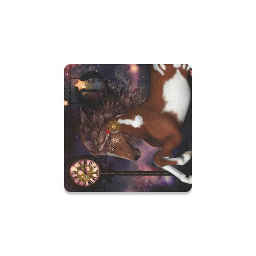 Awesome steampunk horse with clocks gears Square Coaster