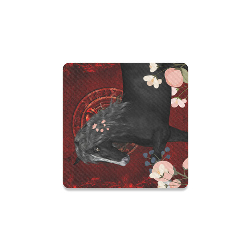 Black horse with flowers Square Coaster