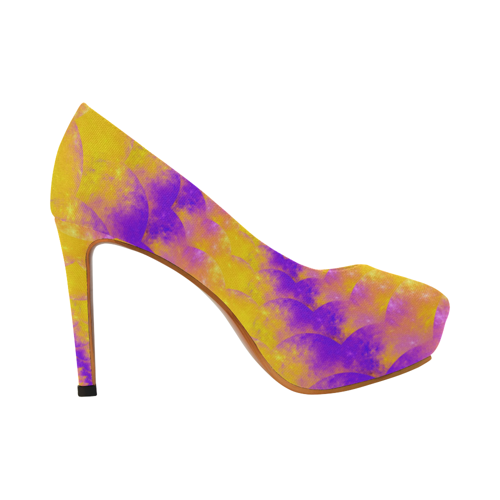 Color explosion Spiral Yellow Lilac Composion Women's High Heels (Model 044)
