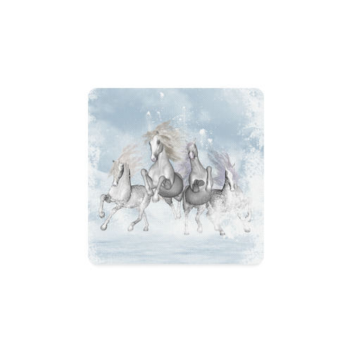 Awesome white wild horses Square Coaster