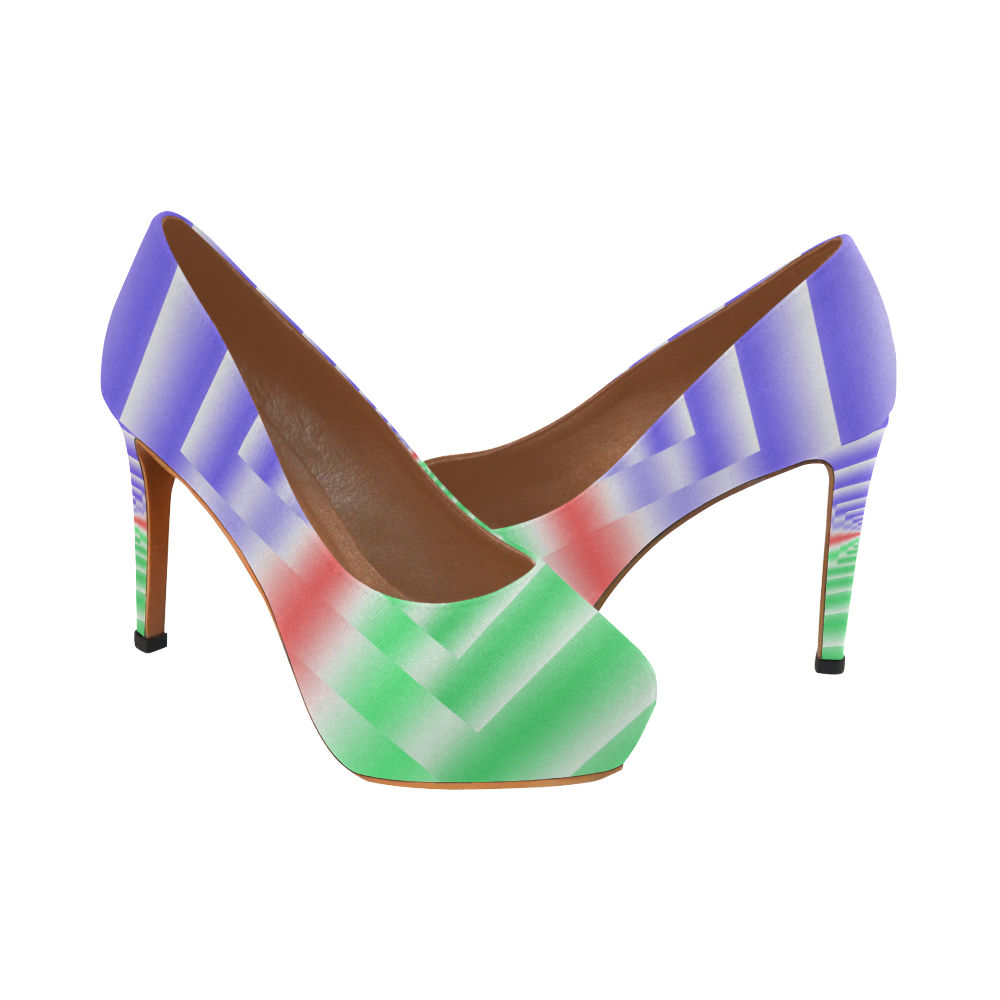 Colorful Endless Window Green Red Blue Women's High Heels (Model 044)