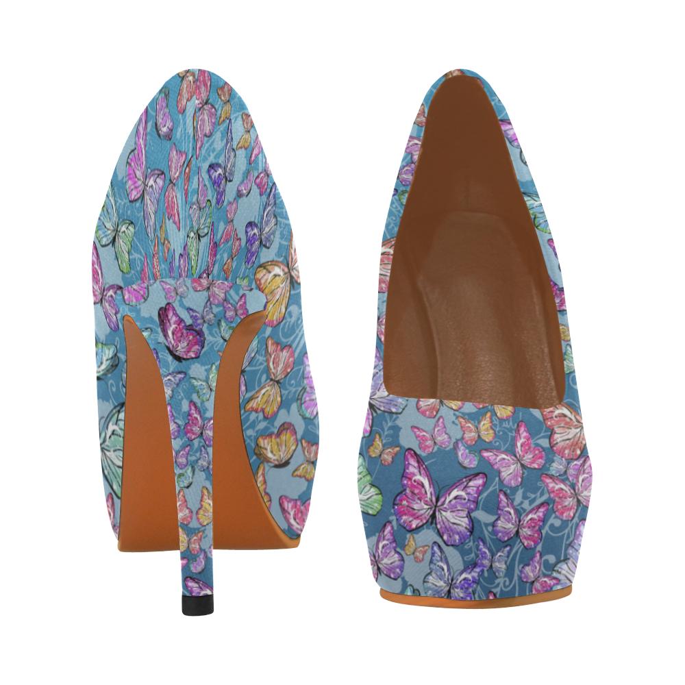 Print High Heel Blue Butterfly Print Juleez Women's High Heels (Model 044)