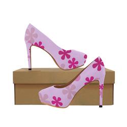 Pink Retro Flowers Women's High Heels (Model 044)