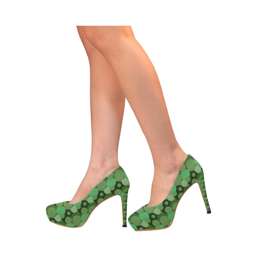 Green Bubble Pop Women's High Heels (Model 044)