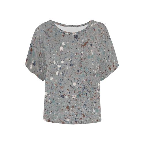 Abyssal Blizzard Women's Batwing-Sleeved Blouse T shirt (Model T44)