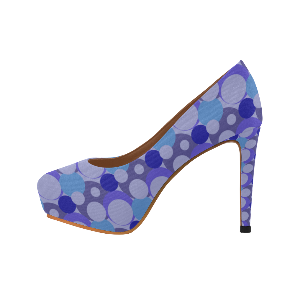 Blue Bubble Pop Women's High Heels (Model 044)