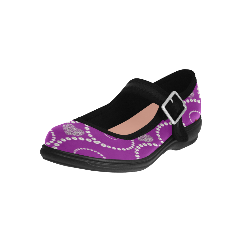Silver hearts and pearls of white -purple Virgo Instep Deep Mouth Shoes