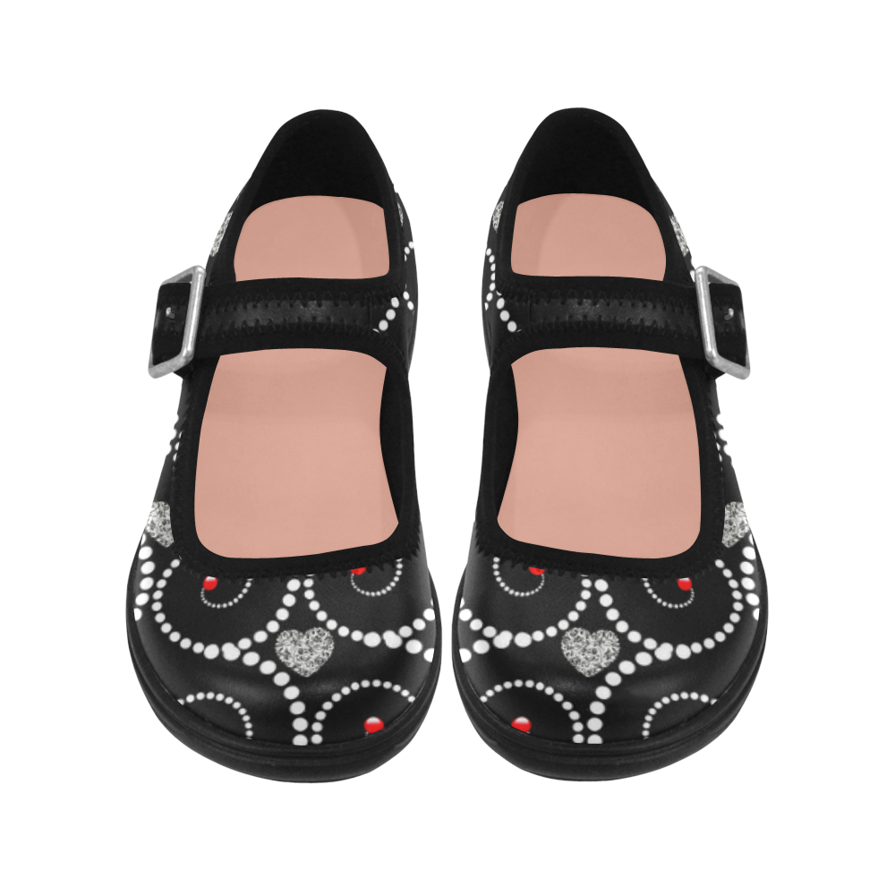 Silver hearts and pearls of white -black Virgo Instep Deep Mouth Shoes
