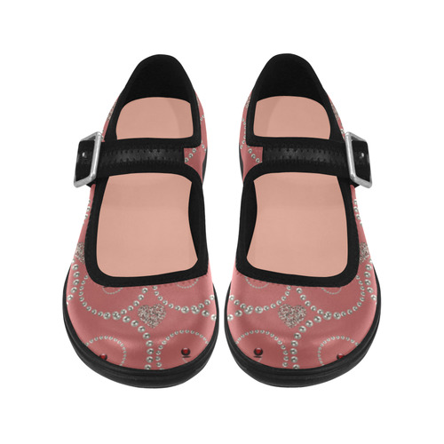 Silver hearts and pearls of white -pink Virgo Instep Deep Mouth Shoes