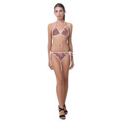 MosaicArt pink  floral by JamColors Custom Bikini Swimsuit (Model S01)