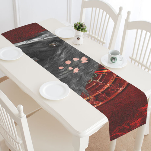 Black horse with flowers Table Runner 14x72 inch