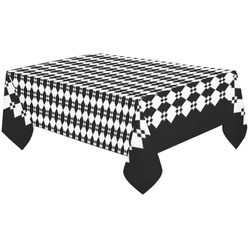 "Funky Black & White Diamond Pattern Cotton Linen Tablecloth 60""x120"""