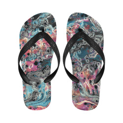 Acryl Paint Flowing Brushe Strokes Cyan Salmon Bla Flip Flops for Men/Women (Model 040)