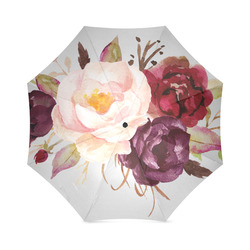 Burgundy Pink Watercolor Roses Floral Foldable Umbrella (Model U01)